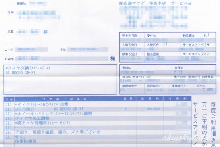 ディーラー(広島マツダ)さんで購入した伝票