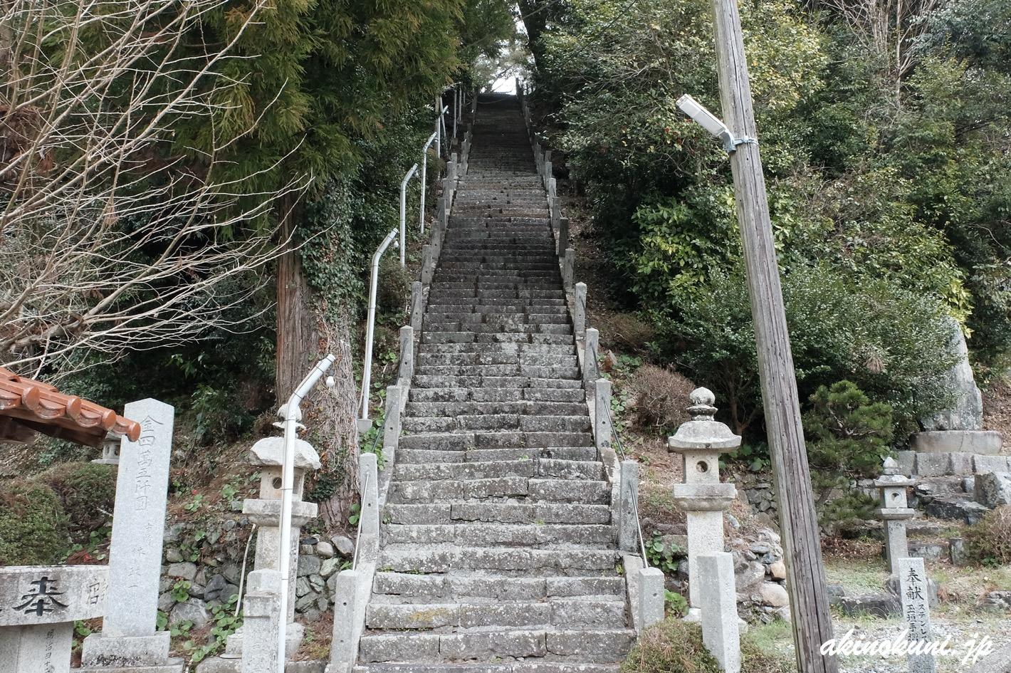 鮎原剣神社 急な階段